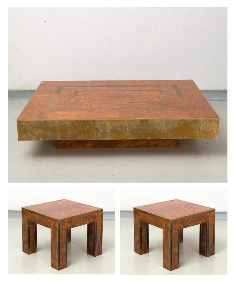 Table Basse Rectangulaire En Loupe D 39 Orme Et Laiton H