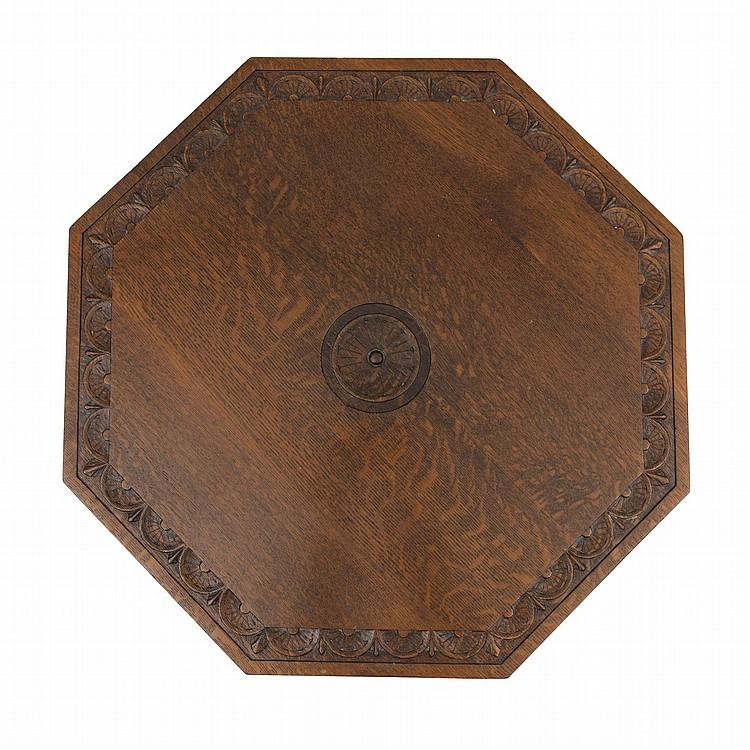 Table Pliante En Ch Ne Art Nouveau Plateau Octogonal Grav