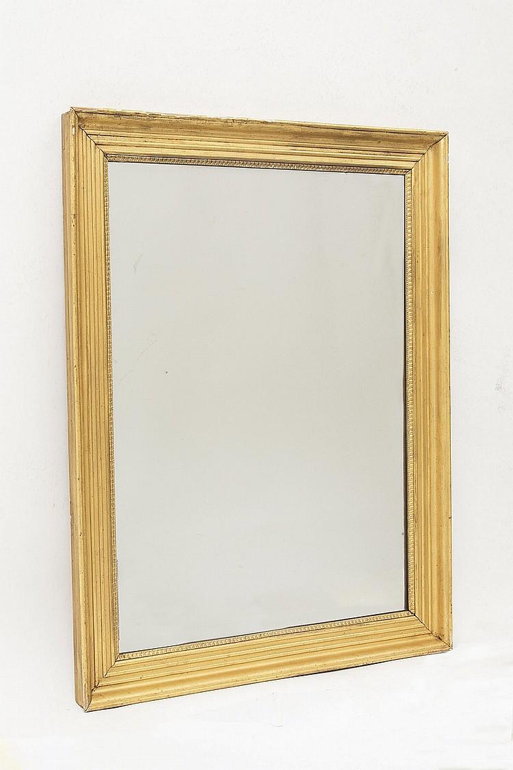 Miroir rectangulaire cadre en bois dor et glace au mercur for Miroir dore rectangulaire