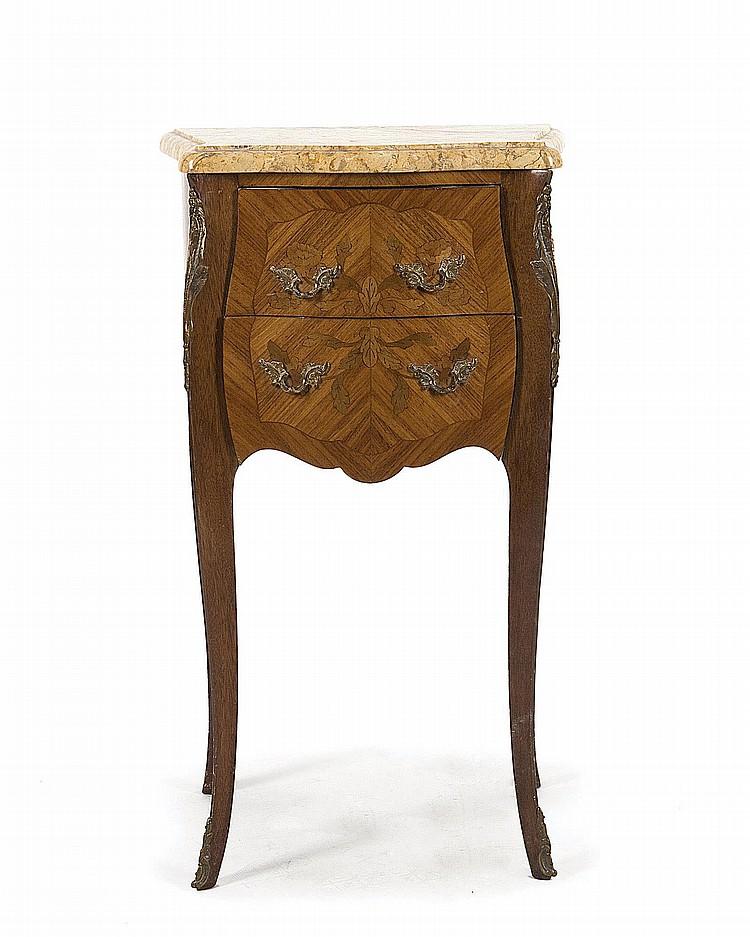 Petit chevet de style louis xv 2 tiroirs marqueterie de - Table de chevet louis xv ...