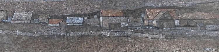 cire sur papier marouflée sur panneau de Jean Pierre LERMITE (1922-1977, CH),