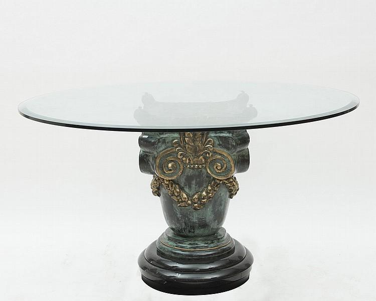 Table ronde pied central colonne en bronze patine verte - Pied de table pour plateau verre ...