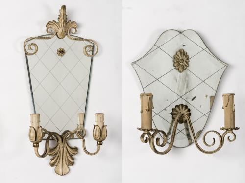 deux appliques miroir en fer forg dans le go t de fontana. Black Bedroom Furniture Sets. Home Design Ideas