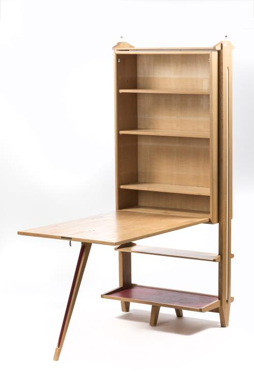 Meuble biblioth que rabattable en bureau en fr ne 1950 196 for Meuble bureau 1950