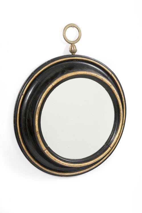 miroir hublot en bois noirci et dor