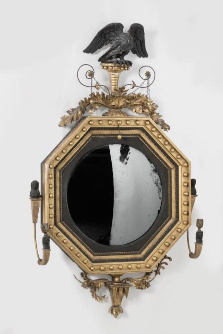 Miroir sorci re circulaire anglais xixe en bois dor et noir for Miroir in english
