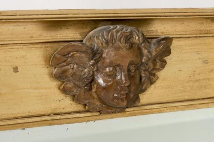 Miroir double colonne en bois dor front t te d 39 angelo - Miroir ancien bois dore ...