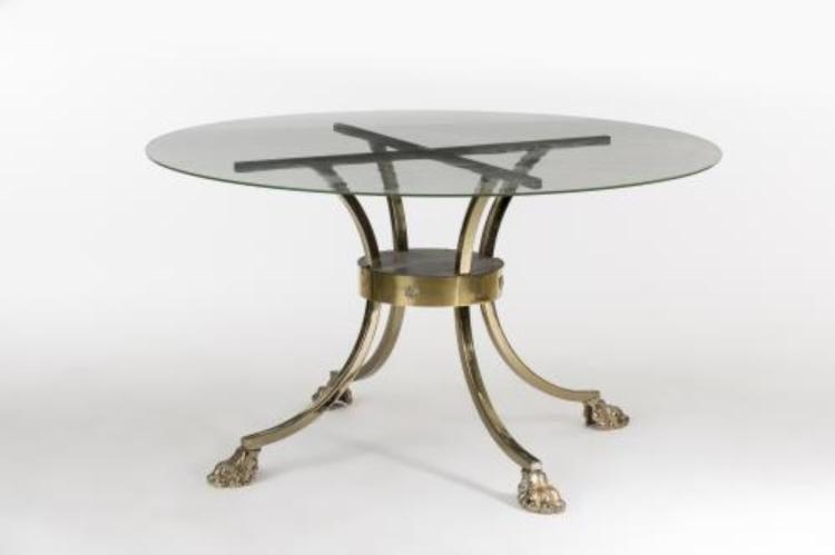 Table ronde pi tement en m tal dor for Pietement table metal