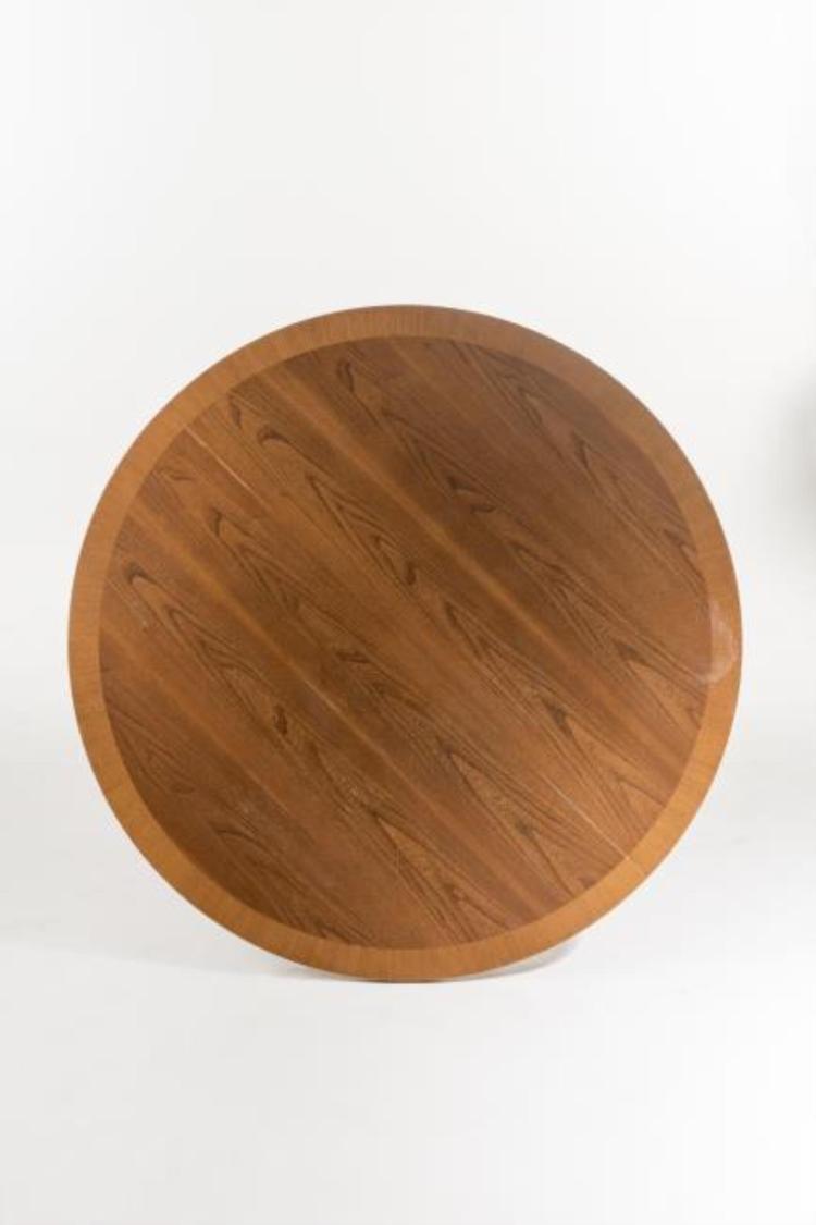 Table ronde en ch ne avec possibilit d 39 inclure une allonge - Table ronde avec chaise ...
