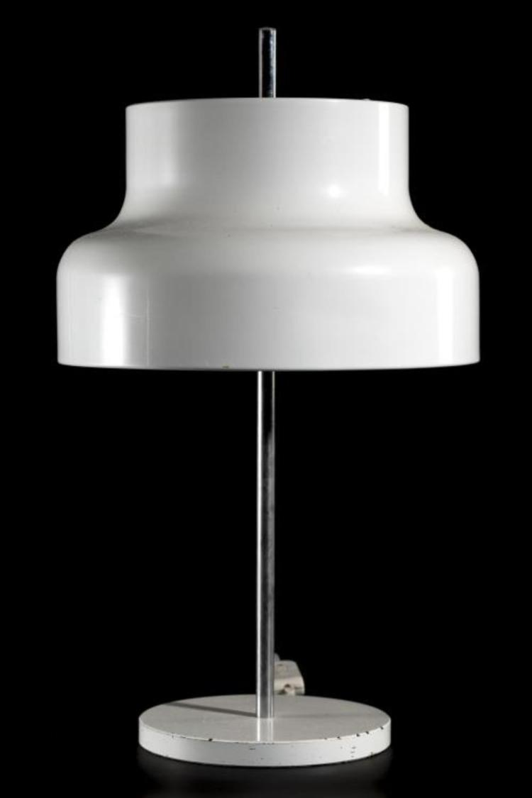 Lampe De Table Vintage En M Tal Blanc F T Central Chrom