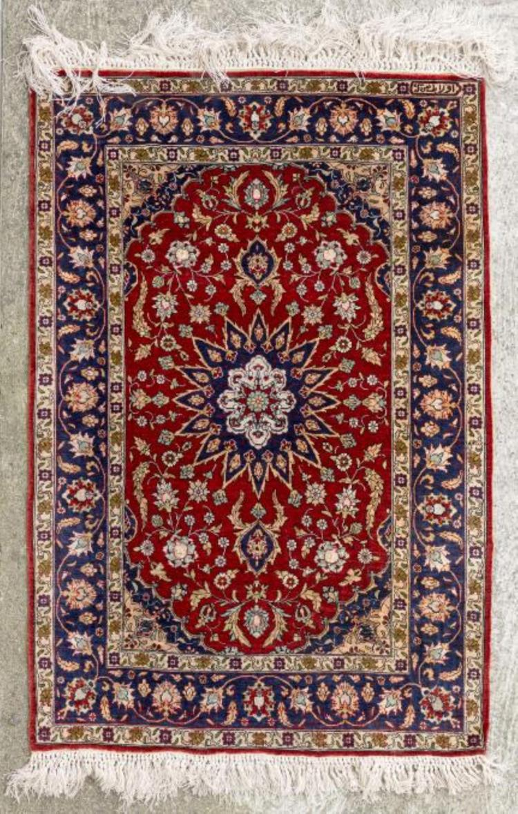 tapis hereke en soie 224 m 233 daillon central en forme d 233 toile