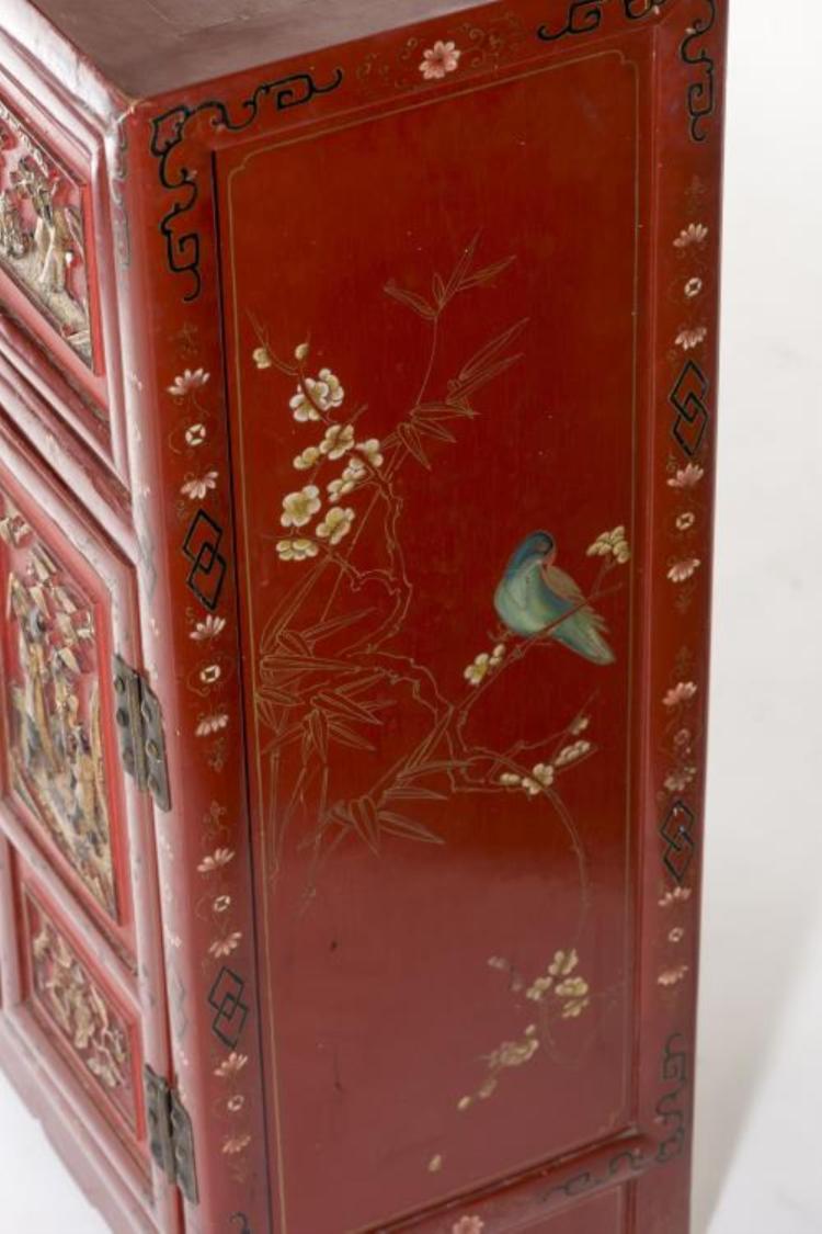 meuble chinois en laque rouge. Black Bedroom Furniture Sets. Home Design Ideas