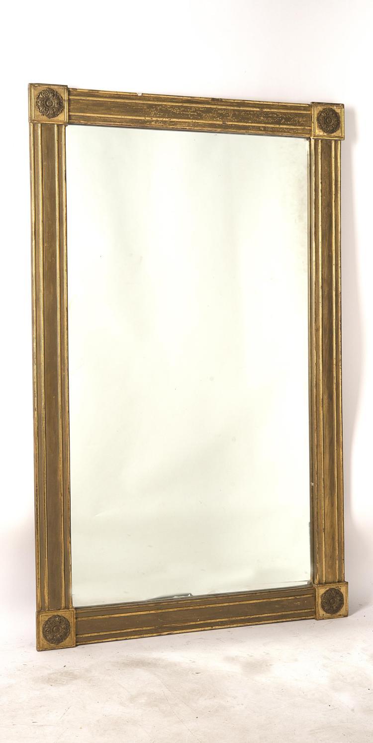 Miroir rectangulaire empire cadre en bois dor quatre m for Miroir dore rectangulaire