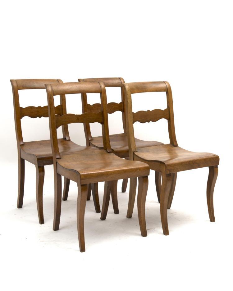 4 chaises louis philippe 224 assise en bois et pieds avant sab