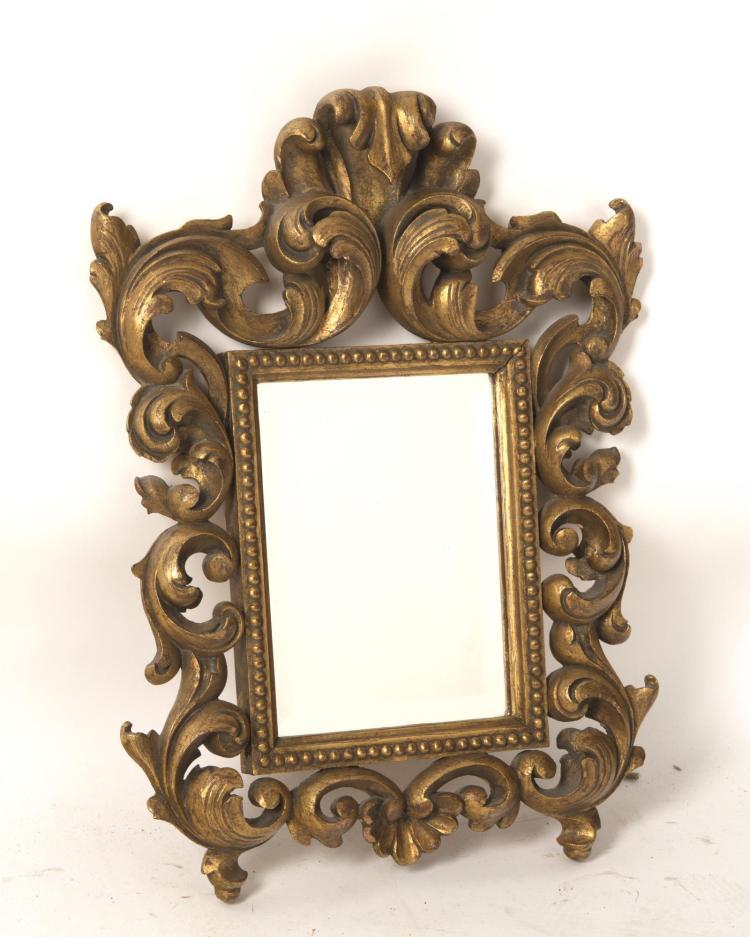 Miroir rectangulaire cadre en bois dor ajour et glace bi for Miroir dore rectangulaire