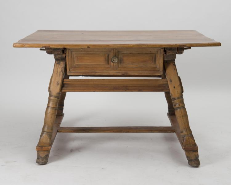 Table vieux suisse ancienne plateau en merisier 1 tiroir - Table console ancienne ...