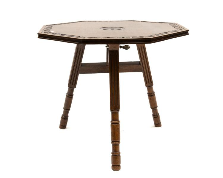 Table pliante en ch ne art nouveau plateau octogonal grav - Table pliante collectivite ...
