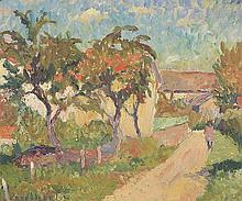 """huile sur toile de Emile BRESSLER (1886-1966, CH) """"Chemin au soleil"""" sbg"""
