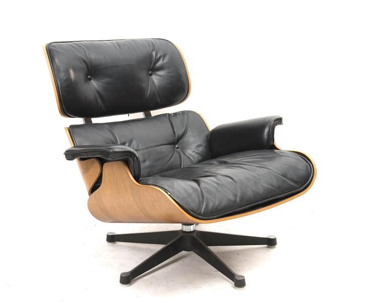 fauteuil hermann miller eames lounge chair en cuir noir