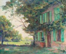 """Emile Bressler (1886-1966, CH), """"Devant la ferme""""."""