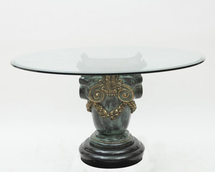 Table ronde pied central colonne en bronze patine verte - Table ronde pied central inox ...