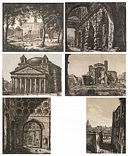 lot de 6 eaux-fortes par Luigi Rossini (1790-1857, IT) :