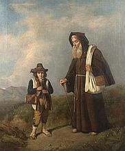 """huile sur toile de Antonio MILONE (1834-1919) """"Le pèlerin et le joueur de flûte"""" sbg"""