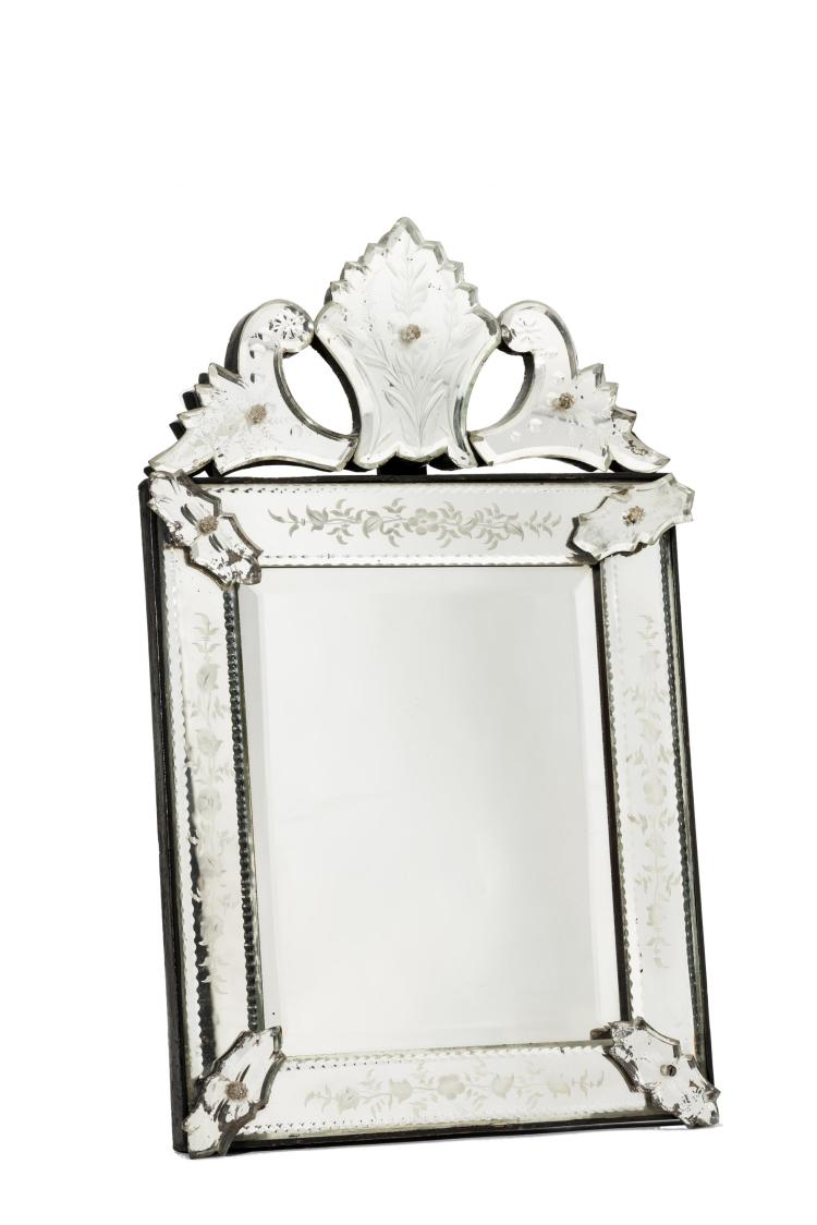 Miroir v nitien en verre grav poque napol on iii for Miroir venitien