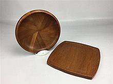 Coupe D. 23,5cm et support en bois teck