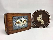Sous verre teck décoration argent  925g  CERES GUDINDEN D.9 cm - Boïte allu