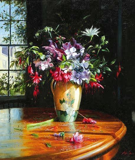Mat Grogan b.1947 SUMMER FLOWERS WITH FUSCHIA Oil