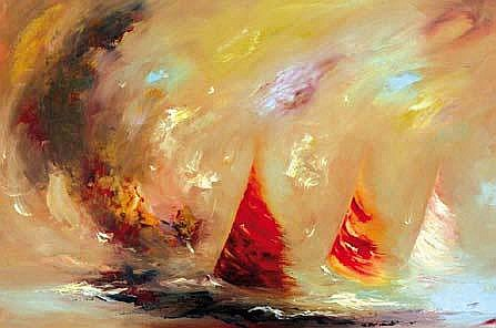 Carol Ann Waldron b.1948 CALL OF THE SEA Oil on
