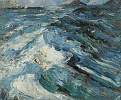 Stuart Williams b.1973 SAILING BOATS ON THE WAVES