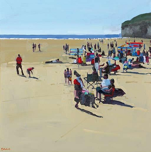John Morris b.1958 SUMMER BEACH, BALLYBUNION Oil