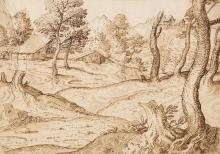 * Grimaldi (Giovan Francesco, Il Bolognese, 1606-1680). Landscape with rustic buildings
