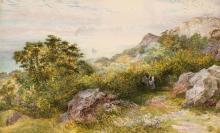 * Brett (John, 1830-1902). Cliff Scene in Cornwall, watercolour and gouache on paper