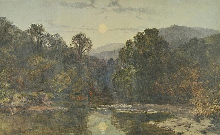 * Warren (Edmund George, 1834-1909). Moonlit River