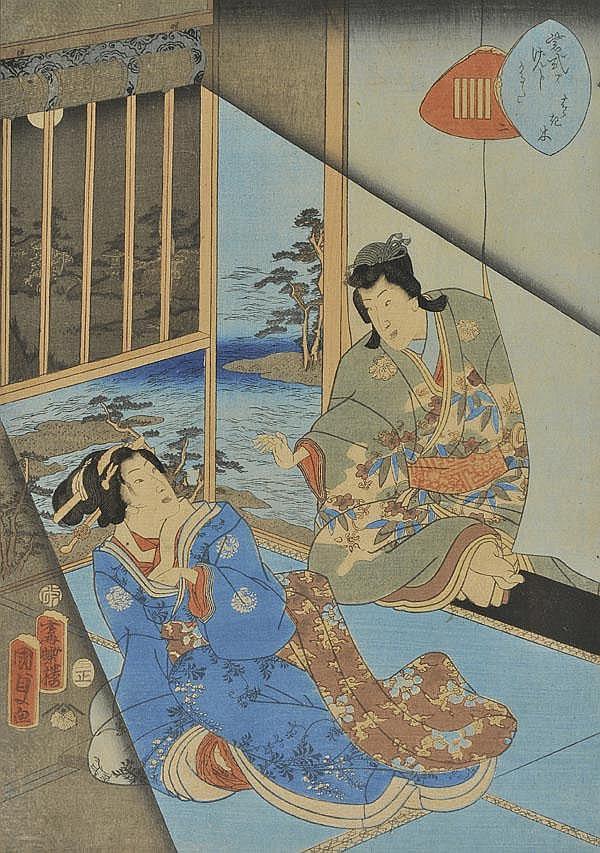 Kunisada (Toyokuni III, 1848-1920). Night scene