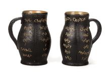 A pair of Victorian Doulton Slater's Patent stoneware jugs,