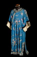 A Chinese embroidered silk robe, late 19th century,