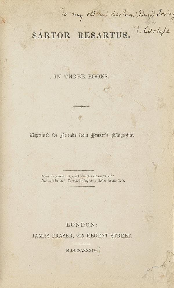 Carlyle (Thomas, 1795-1881). Sartor Resartus, in