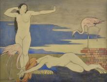 * Emslie (Rosalie, 1891-1977). Female nudes and flamingos