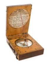 * Sundial. A Victorian boxwood sundial and compass by Cox of Newgate Street London,