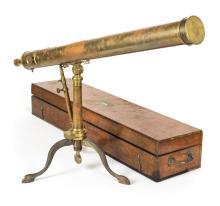 * Telescope. A 19th century lacquered brass library telescope,