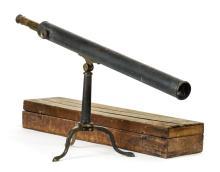 * Telescope. A 19th century lacquered library telescope,