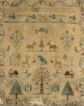 * Sampler. A linen sampler by Suffina Odell Hughes, 1798,