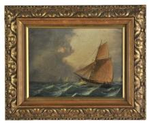* Small (William, 1843-1929). Single-masted cutter-rigged ship in a stiff breeze, & Sailing ship becalmed,