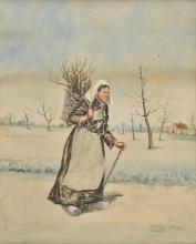 * Bastien-Lepage (Jules, 1848-1884). Breton peasant woman carrying a basket of wood,