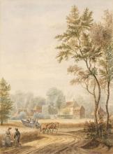 * Schouman (Martinus, 1770-1848). Dutch rural scene with wagon and figures among cornfields