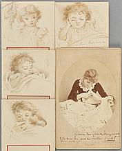 *Manners (Violet, 1856-1937, Duchess of Rutland). A group of 4 monochrome watercolour and pencil menu card holders, circa 1880s,